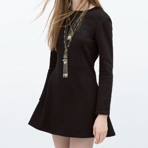 ✨TRF by Zara Black Long Sleeve Skater Flare Dress✨